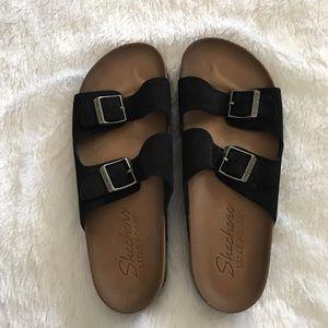 NEW SKECHERS Luxe Foam Two Strap Leather Sandal